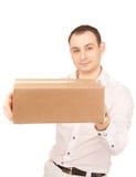 Homme d'affaires avec le colis Photographie stock libre de droits