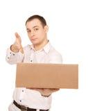 Homme d'affaires avec le colis Photo libre de droits
