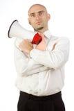 Homme d'affaires avec le corne de brume Photographie stock libre de droits