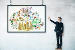 Homme d'affaires avec le croquis d'affaires dans le cadre Image stock