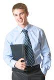 Homme d'affaires avec le dépliant image stock