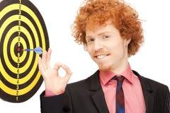 Homme d'affaires avec le dard et la cible Photo stock