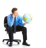 Homme d'affaires avec le globe image libre de droits