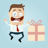 Homme d'affaires avec le grand cadeau Image stock