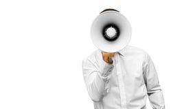 Homme d'affaires avec le mégaphone à disposition photographie stock libre de droits