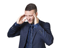 Homme d'affaires avec le mal de tête Photo libre de droits