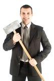 Homme d'affaires avec le marteau Photographie stock libre de droits