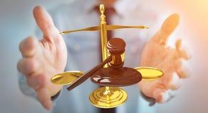 Homme d'affaires avec le marteau de justice et le rendu des balances 3D Image stock