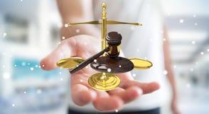 Homme d'affaires avec le marteau de justice et le rendu des balances 3D Photos libres de droits