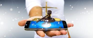 Homme d'affaires avec le marteau de justice et le rendu des balances 3D Photo libre de droits