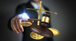 Homme d'affaires avec le marteau de justice et le rendu des balances 3D Photos stock