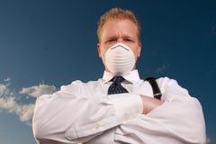 Homme d'affaires avec le masque Images libres de droits