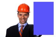 Homme d'affaires avec le panneau photo libre de droits