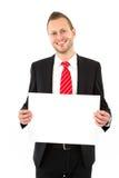 Homme d'affaires avec le panneau de signe - homme d'isolement sur le fond blanc Photo libre de droits