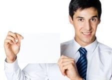 Homme d'affaires avec le panneau indicateur photographie stock