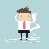 Homme d'affaires avec le papier très long de facturation illustration stock
