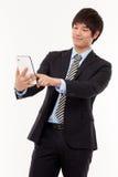 Homme d'affaires avec le PC de tablette Images libres de droits
