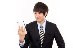 Homme d'affaires avec le PC de tablette Image stock