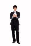 Homme d'affaires avec le PC de tablette Image libre de droits