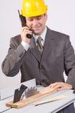 Homme d'affaires avec le pnone Photo libre de droits