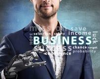 Homme d'affaires avec le point robotique de main sur le nuage de mot d'affaires rendu 3d Photographie stock