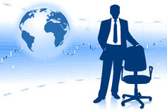 Homme d'affaires avec le puzzle du globe 3D Photo stock