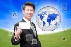 Homme d'affaires avec le réseau et la transmission sociaux illustration stock