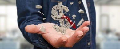 Homme d'affaires avec le rendu de explosion de la devise 3D du dollar Photographie stock libre de droits