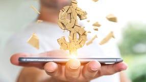 Homme d'affaires avec le rendu de explosion de la devise 3D du dollar Image libre de droits