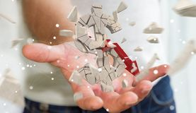 Homme d'affaires avec le rendu de explosion de la devise 3D du dollar Photo stock