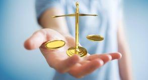 Homme d'affaires avec le rendu des balances 3D de justice Image stock