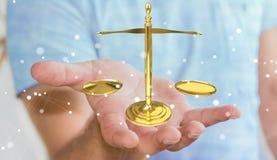 Homme d'affaires avec le rendu des balances 3D de justice Photographie stock libre de droits