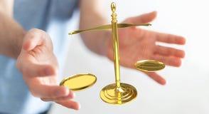 Homme d'affaires avec le rendu des balances 3D de justice Images libres de droits