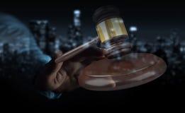 Homme d'affaires avec le rendu du marteau 3D de justice Image libre de droits