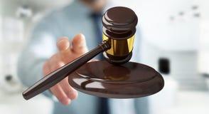 Homme d'affaires avec le rendu du marteau 3D de justice Photographie stock libre de droits