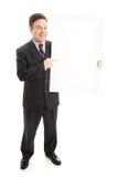 Homme d'affaires avec le signe blanc - plein fuselage Photos libres de droits