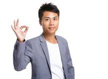 Homme d'affaires avec le signe correct Images libres de droits