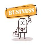 Homme d'affaires avec le signe d'affaires illustration libre de droits