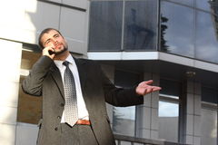 Homme d'affaires avec le téléphone Photo stock