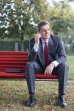 Homme d'affaires avec le téléphone portable Images libres de droits