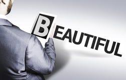 Homme d'affaires avec le texte beau dans une image de concept photo libre de droits
