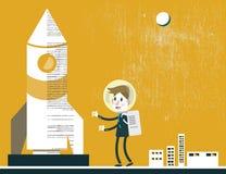Homme d'affaires avec le vaisseau spatial Direction d'affaires Explorateur et concept d'occasion illustration de vecteur