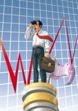 Homme d'affaires avec les jumelles et l'euro Photo stock