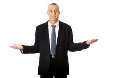 Homme d'affaires avec les mains ouvertes Image libre de droits