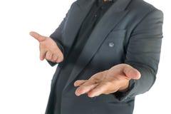 Homme d'affaires avec les mains ouvertes sur le blanc Photographie stock