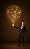 Homme d'affaires avec un ballon social de media Images stock