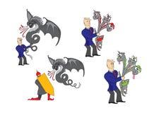 Homme d'affaires avec un dragon Images stock