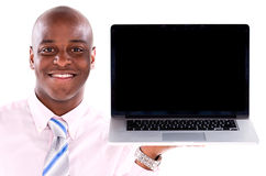 Homme d'affaires avec un ordinateur Image stock