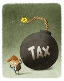 Homme d'affaires avec une bombe énorme d'impôts illustration stock