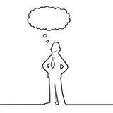 Homme d'affaires avec une bulle de pensée au-dessus de sa tête Image stock